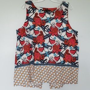 Ann Taylor Factory mixed print split back tank top